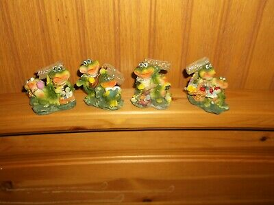 Lot Of 12 Small Resin Frog Figures