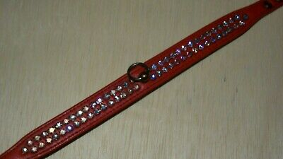 """vintage 1950s 1960s RHINESTONE DOG COLLAR  BLING RED LEATHER JEWELED 14"""" GLAM"""