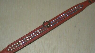 """vintage 1950s 1960s RHINESTONE DOG COLLAR BLING CORAL PINK LEATHER JEWELED 14"""""""