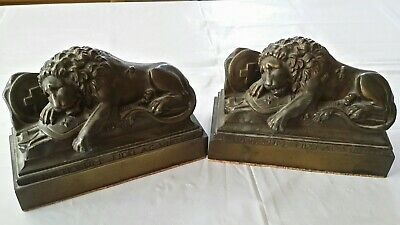 Pair of Antique Lion Monument of Lucerne Switzerland Bronze Bookends-Heavy 11lbs