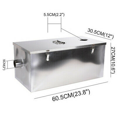 25LB 13GPM Gallons Per Minute Grease Trap Stainless Steel Interceptor US