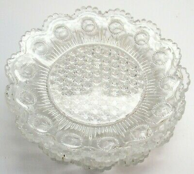 """4 Lacey Glass 5 & 1/4"""" Plates, Heavy Old Sandwich? Glass"""