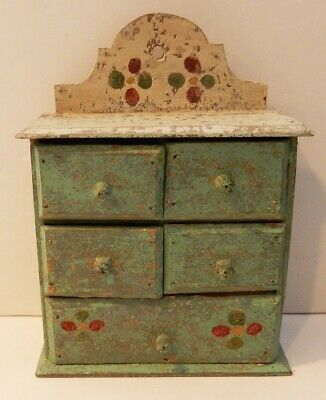 Antique English Folk Art Painted Spice Cabinet
