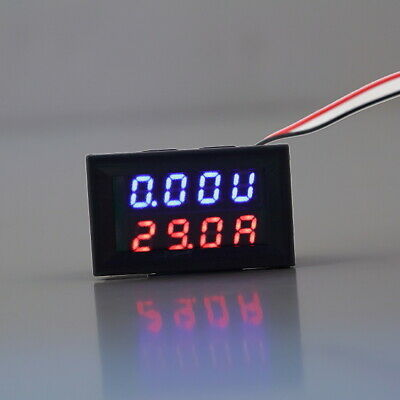 DC 0-30V 10A Voltmeter Ammeter Blue+Red LED Panel Amp Digital Volt Gauge meter