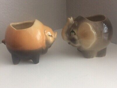 Shawnee Pottery Elephant And Pig Planters