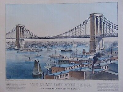 ANTIQUE BROOKLYN BRIDGE LITHOGRAPH by CURRIER & IVES - 1872.