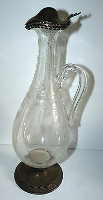 Large Antique Victorian Ornate Sterling Silver Ewer Caraf Wine Decanter Pitcher