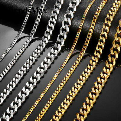 3/5/7/9/11mm Stainless Steel Silver Gold Men Cuban Link Necklace Chain 18-24inch