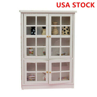 1:12 Dollhouse Miniature Furniture Kitchen Dining Cabinet Wood Display Cupboard