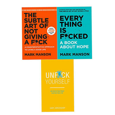 Subtle Art of Not Giving a F*ck,Unf*ck Yourself 3 Books Collection Set Brand New