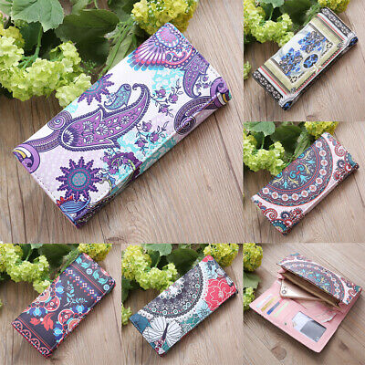 Women Flower Printed Wallet Long Purse Phone Holder Card Lady Clutch Handbag AU