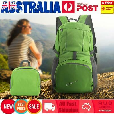35L Foldable Outdoor Waterproof Hiking Camping Backpack Travel School Bag Green