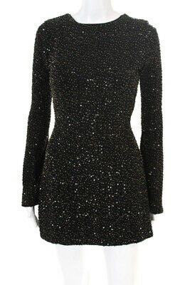 NBD Womens Sequined Open Back Long Sleeve A Line Dress Black Size Extra Small