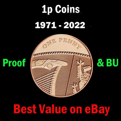 UK Royal Mint PROOF & BU 1p One Penny Coins 1971-2020, Coin Hunt - Select Year