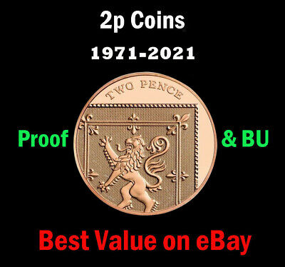 UK Royal Mint PROOF & BU 2p Two Pence Coins 1971 - 2020 Coin Hunt - Select Year