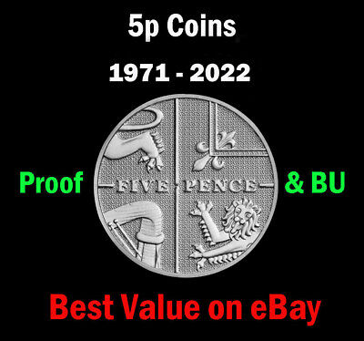UK PROOF & BU 5p Five Pence Coins 1971 - 2019 Coin Hunt - Select Year