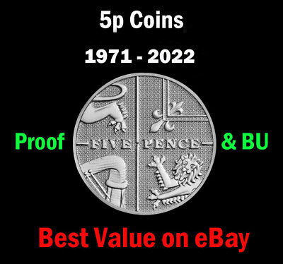 UK Royal Mint PROOF & BU 5p Five Pence Coins 1971-2020 Coin Hunt - Select Year