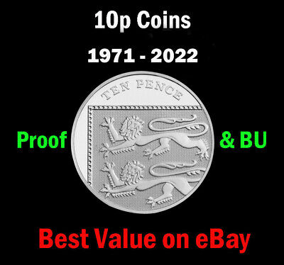 UK Royal Mint PROOF & BU 10p Ten Pence Coin 1971 - 2020 Coin Hunt - Select Year