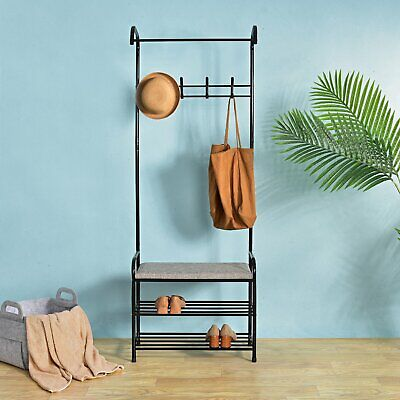 Funime Hall Metal Coat Hat Shoe Rack Stand Clothes Bench Stand Hanger Shelves
