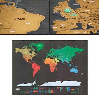 World Map Poster Deluxe Scratch Off Journal Log Giant Map Of The World Gift New