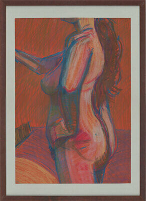 Gerald Roberts - Signed & Framed Contemporary Pastel, Expressive Nude Study