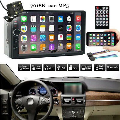 7 Inch Double 2 Din Screen Car MP5 Player Bluetooth Stereo FM Radio+1080P Camera