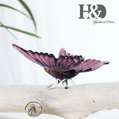 Hand Blown Glass Purple Moth Animal Design Office Table Centerpiece Paperweight