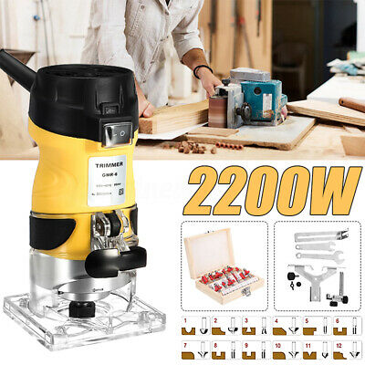 2200W 1/4'' Electric Hand Trimmer Wood Laminator Router + Free 12PCS Router Bits