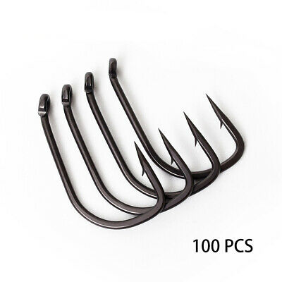 100pcs/lot Outdoor Carbon Steel Barbed Saltwater Sharpened Fishing Hooks Carp