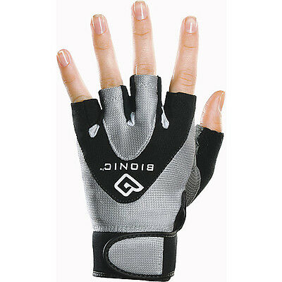 bionic stablegrip fitness 1/2 finger womens pair grey black workout gloves large