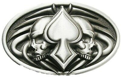 Lady Luck Belt Buckle 4 Aces 8 Ball 2 Dice Vegas Gambler Lacquered Gunmetal
