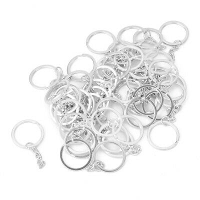 50pcs Silver Plated Alloy Split Flat Key Ring Keyrings with Chains 25mm Bulk