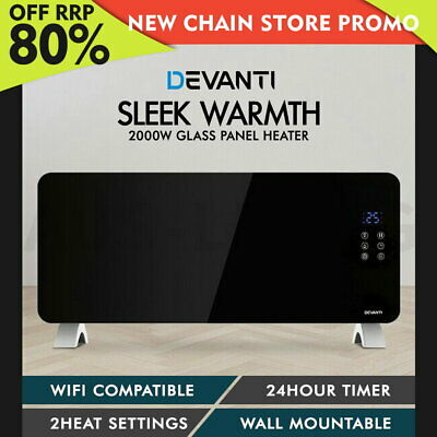 Devanti 2000W Electric Glass Panel Heater Portable Convection Heat Wall WiFi BK