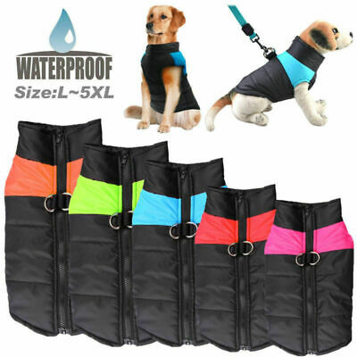 S-5XL Waterproof Pet Dog Coat Top Vest Jacket Clothes Autumn Winter Warm Padded