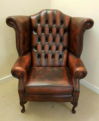 Chesterfield Style Leather Wing Back Burgundy Red Fireside Armchair - N44