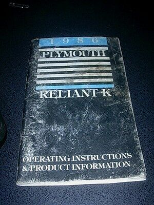 1986 Plymouth Reliant K Owners Manual