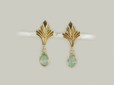 Gold Emerald Earrings 1¼ct Antique 19thC Siberian Ancient Sumer Immortality 14kt