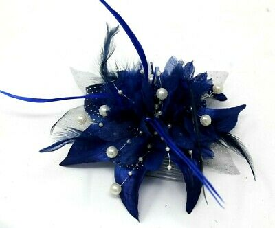 Deep Royal Blue Hair Fascinator On A Clear Comb Weddings Proms Races Ladies Day