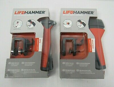 2 x LifeHammer Car Safety Hammer Evolution & Plus Seatbelt Glass Cutter- KEY L98