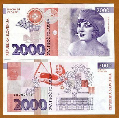 Slovenia, 2000 Tolarjev, 2016 Private Issue Specimen, UNC > Ita Rina