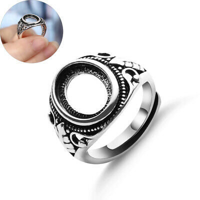 Oval Base Jewelry Carved Totem Antique Silver Inlaid  Blanks Set Hollow Rings