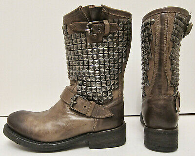 EXC+ 36.5 6 6.5 Ash Trash Taupe Brown Distressed Leather Studded Engineer Boots