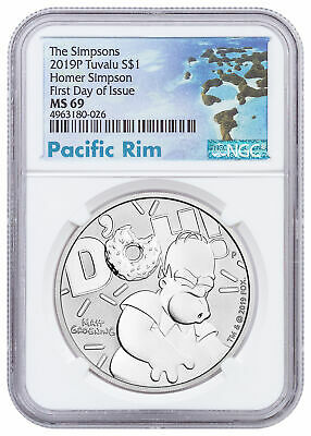 2019 Tuvalu Simpsons Homer 1oz Silver $1 NGC MS69 FDI Pacific SKU57996