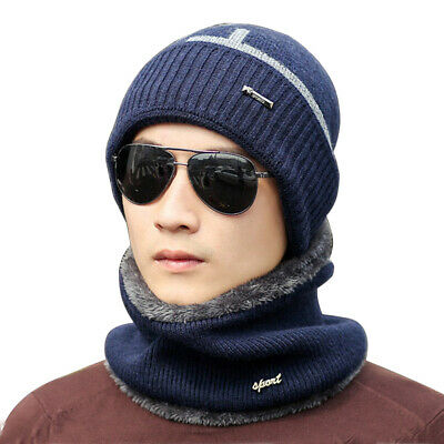39f884beb4414 Winter Beanie Hat Neck Scarf Set Fleece Warm Balaclava Snow Ski Cap Men  Women