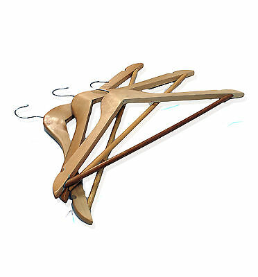 10 Pack Wooden Coat Trouser Clothing Storage Wardrobe Hangers (WCH100)
