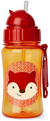 Skip Hop ZOO STRAW BOTTLE - FOX Kids Straw Pop-Up Drinking Bottle BN