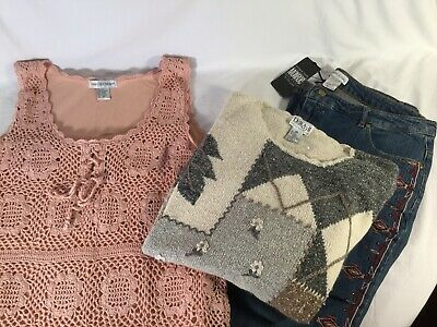 Plus Size Ladies - 2X  Mixed Lot Jeans, Angora Sweater And Dress