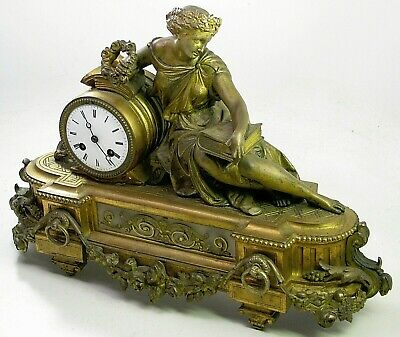 Antique Japy Freres Figural Lady French Mantel Shelf Clock Parts Repair