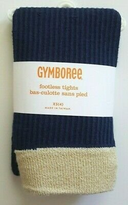 NEW! Gymboree FLIGHT OF FANCY Footless Dress Tights XS (4) Navy Blue Gold Ribbed