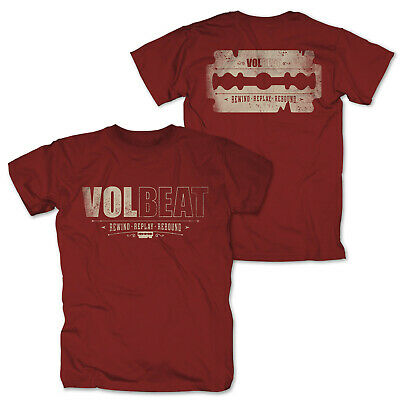 VOLBEAT - Rewind Replay Rebound Distressed Logo Red Rot T-Shirt